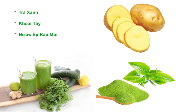chăm-sóc-tóc-bằng-trà-xanh-khoai-tây-và-nước-ép-rau-mùi